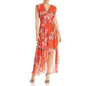 Eliza J Orange Floral High/Low Maxi Dress 2P NWT